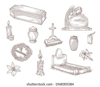 Funeral service elements hand drawn vector illustration collection. Engraved tombstone, cross, candle, stone angel and flower wreath vintage sketch. Bereavement, sorrow and cemetery concept