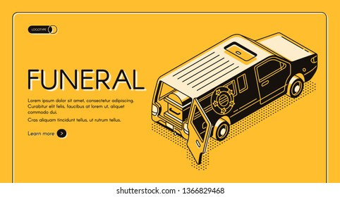 Funeral service isometric vector web banner, landing page template. Hearse vehicle with wreath, opened rear door and coffin inside line art illustration. Burial deceased, memorial ceremony planning