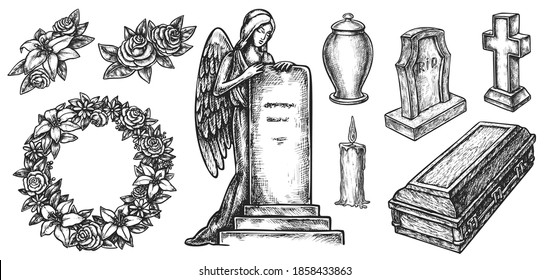 Funeral service or mortuary burial ceremony agency attribute. Hand drawn wreath, coffin, candle, ash urn, tombstone with angle, rip gravestone sketch vector illustration isolated on white background