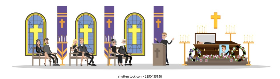 Funeral service. People in black clothes crying at the memorial ceremony in the church . Isolated vector flat illustration