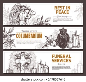Funeral service vector hand drawn design of horizontal banners. Sketch illustration for condolence card and advertising of columbarium and cemetry with urn for ashes, vintage tombstone angel, wreath