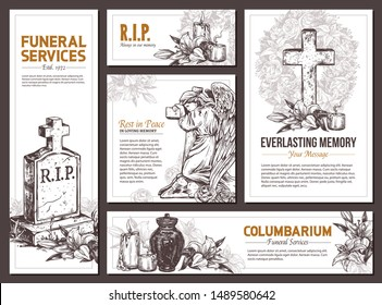 Funeral service vector hand drawn design banners. Sketch illustration for condolence card and advertising of columbarium and cemetry with urn for ashes, vintage tombstone angel, wreath, stone cross