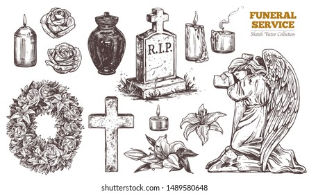 Funeral service vector hand drawn set. Attributes and symbols of condolence, loss, dead, bereavement and cemetry. Sketch of vintage stone angel, tombstone, urn, cross, resurrection