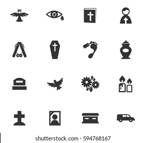 Funeral service vector icons for user interface design