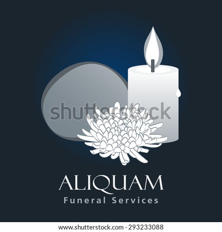Funeral Services Business Sign Vector Template Ceremony Invitation Card Concept With Traditional Jewish Symbols
