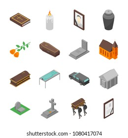 Funeral Signs 3d Icons Set Isometric View Include of Candle, Church, Grave, Cross, Tombstone, Coffin and Monument. Vector illustration