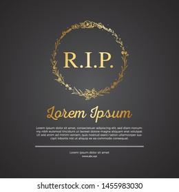 Funeral template card with place for text - R.I.P. Eps 10 vector illustration.