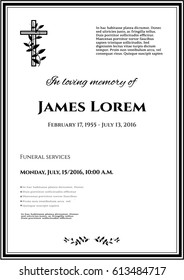 Funeral template card with simple cross and black flowers, place for text
