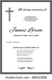 Funeral template card with simple cross and black flower leaves, place for text