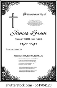 Funeral template card with simple line cross and many black flowers, place for text