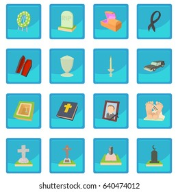 Funeral urn flowers icon blue app. illustration of funeral urn flowers vector icon for any design