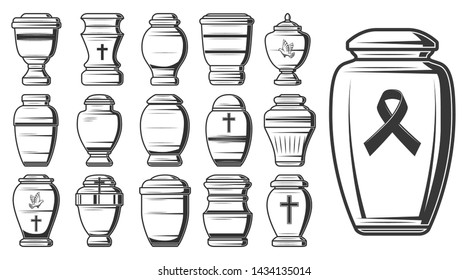 Funeral urn sketches of vector cremation and burial containers, columbarium vases, jars and pots with ashes, decorated by crosses and dove or pigeon birds. Mortuary or funerary home service design