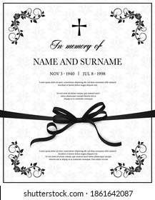 Funeral vector card with vintage condolence flower ornamental flourishes, christian cross, black mourning ribbon, name, birth and death dates place. Obituary memorial decorative funereal card template