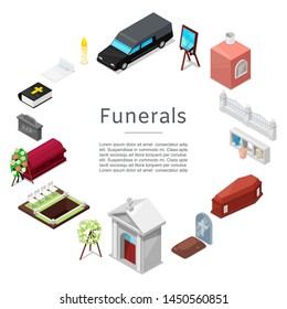 Funeral vector icon set in isometric style for posters. Ritual services. Funeral accessories wreath, coffin, candle, urn for ashes, tombstone, bible and chapel with cross, hearse vehicle.
