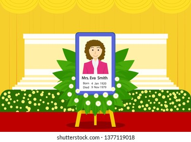 Funeral of woman in Thai style at indoor temple, vector art