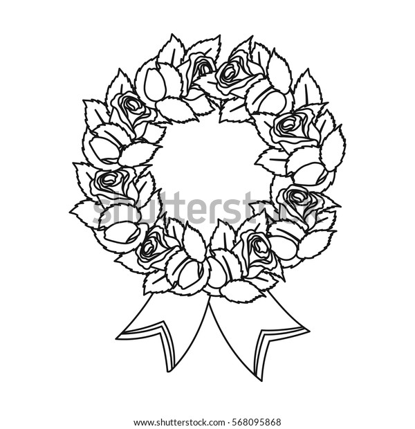 Funeral wreath icon in outline style isolated on white background. Funeral ceremony symbol stock vector illustration.