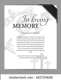 Funereal card design template with black mourning ribbon on corner, cemetery graves crosses and flying doves engraved vector. Funeral ceremony invitation or memorial plate with obituary condolences