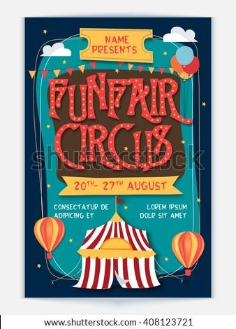 funfair circus template banner flyer design のベクター画像素材