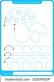 Fungus. Preschool worksheet for practicing fine motor skills - tracing dashed lines. Tracing Worksheet.  Illustration and vector outline - A4 paper ready to print.