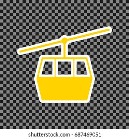 Funicular, Cable car sign. Vector. Yellow icon with white contour on dark transparent background.
