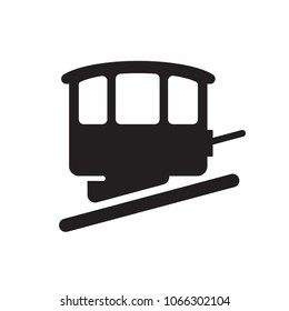 Funicular glyph icon. Urban infrastructure vector sign, pictogram, illustration. Isolated on white background.