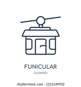 Funicular icon. Funicular linear symbol design from Summer collection. Simple outline element vector illustration on white background.