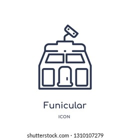 funicular icon from summer outline collection. Thin line funicular icon isolated on white background.