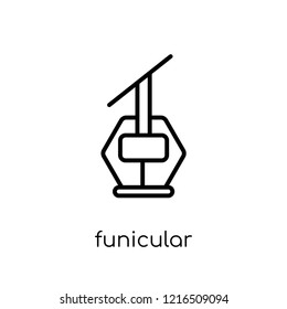 funicular icon. Trendy modern flat linear vector funicular icon on white background from thin line Summer collection, outline vector illustration