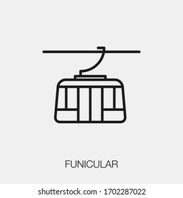 funicular icon vector. Linear style sign for mobile concept and web design. funicular symbol illustration. Pixel vector graphics - Vector.