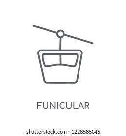 Funicular linear icon. Modern outline Funicular logo concept on white background from Summer collection. Suitable for use on web apps, mobile apps and print media.