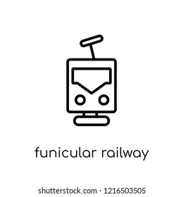 funicular railway icon. Trendy modern flat linear vector funicular railway icon on white background from thin line Transportation collection, outline vector illustration