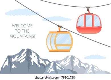 Funicular railway . Ski cable car . Vector mountain illustration .