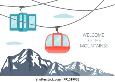 Funicular railway . Ski cable car . Vector mountain illustration isolated on white .Place for inscription .Winter baner .