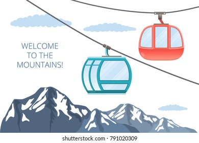 Funicular railway . Ski cable car . Vector mountain illustration isolated on white .Place for inscription .