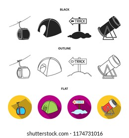 Funicular, tent, road sign, snow cannon. Ski resort set collection icons in cartoon style vector symbol stock illustration web.