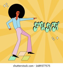 Funk and disco party dancer  in cool cartoon style. Man dressed in 1970s fashion. Funk music  poster.