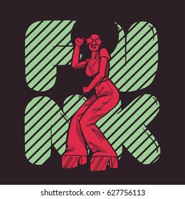 funk girl dancing poster in vintage red and green colors