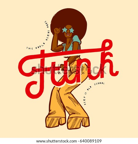 funk girl dancing vintage style poster stock vector royalty free
