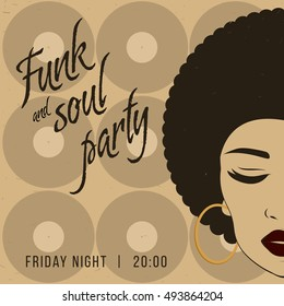 Funk and soul disco party event flyer. Creative vintage poster. Vector retro style template. Front view portrait of a black woman face