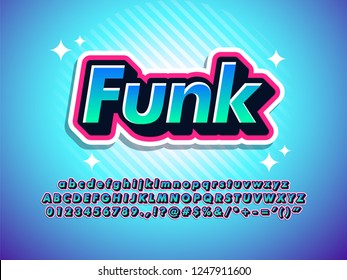 funk sticker text effect cool modern font effect for digital and print poster design, youth outline layered typography.