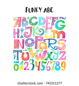Funky ABC. Hand drawn sketchy letters and numerals with gradient. Retro style.