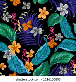 Funky aloha pattern. Seamless design with glowing neon flamingo, and tropical flowers and leaves. Dark background with juicy leaves. Editable vector pattern