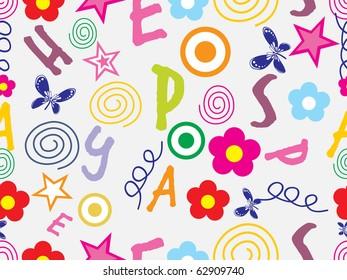 funky alphabet background illustration