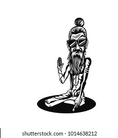 Funky baba - Yogi Holding a Joint or Cigarette, vector illustration