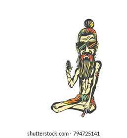 Yogi, Funky baba - Illustration for the Day Of Honoring Celebration Guru Purnima.