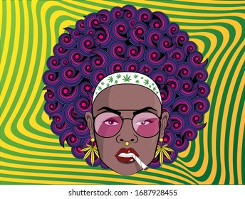 Funky black woman style with psychedelic afro hair, glasses, gold cannabis earrings and smoking marijuana cigarette