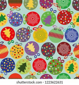 Funky bright seamless vector pattern with multicolor Christmas baubles on subtly textured blue background. Great for giftwrap, scrapbooking, stationery, quilting and commercial projects