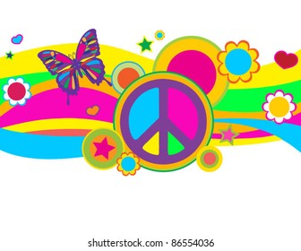 Funky Butterfly Peace Banner