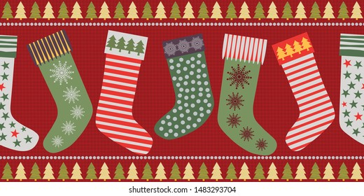 Funky Christmas stocking border design in traditional colors. Seamless vector pattern on textured red background. Great for festive products, giftwrap, scrapbooking, stationery, fabric trim, ribbons