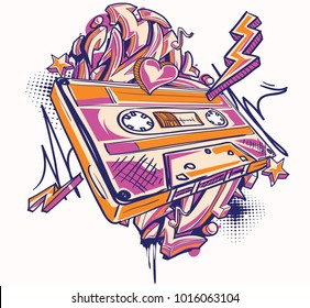 Funky colorful audio cassette and graffiti arrows